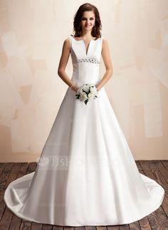 Corte A/Princesa Escote en V Cola capilla Satén Vestido de novia con Bordado (002000072)
