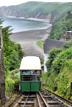 The Lynton & Lynmouth Cliff Railway, a gauge water balance funicular railway dating from June Seaside Holidays, British Seaside, North Devon, English Countryside, Days Out, Cliff, Cornwall, Holiday Ideas, Places Ive Been