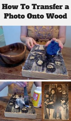 How to transfer a photo onto wood (diy tutorial) . Diy And Crafts Sewing, Crafts To Sell, Diy Crafts, Photo Onto Wood, Picture On Wood, Wood Projects, Craft Projects, Photo Transfer To Wood, Diy Holz