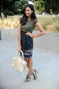 Neutral colors and an abstract print are perfect for Fall dresses!