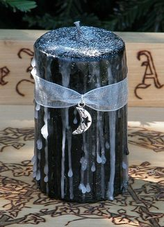 Dark Moon Alchemy Magick Candle 2x3 . For Dark Moon Rites, Shadow Works, Reversals, Clearing Negativity, Otherworldly Path Workings
