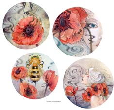 Shadowscapes - The Art of Stephanie Law - fairy women and poppy flower with bee painting watercolor and drawing artwork. Great to see the details when you click through to the larger picture.