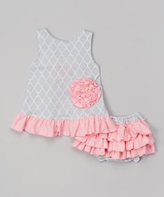 Look at this Ruffles by Tutu AND Lulu Gray Quatrefoil Swing Top