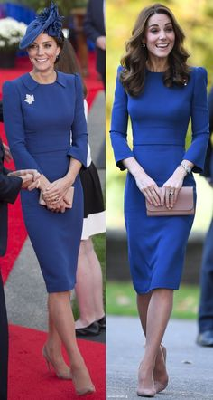 10/31/2018 - The Duchess wore her bespoke blue fitted dress by go-to designer Jenny Packham, first worn for the Cambridges' arrival in Canada during their 2016 tour. It's a beautifully crafted, tailored garment with gathered shoulders, a belt, and detailing at the collar and back.