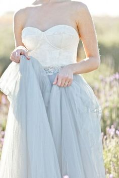 Blue Gray Tulle Wedding Dress   Corette Faux Photography on /blovedblog/ via /aislesociety/