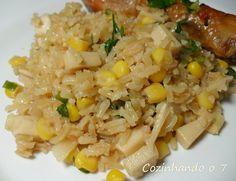 arroz integral com palmito e milho