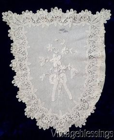 """Antique Battenburg Lace Shield or Baby Buggy Cover 28"""" x 21"""" www.Vintageblessings.com"""