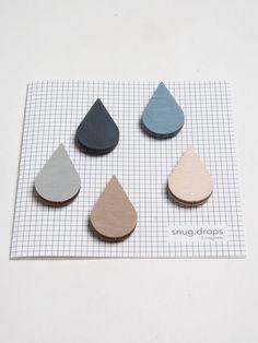 Rain drop magnets :: nice muted colour palette.