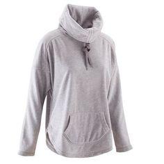 Felpe Abbigliamento fitness,Danza - Felpa yoga donna micropile grigio chiaro DOMYOS - Abbigliamento Palestra