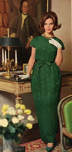 1962 fashion style color photo print ad model magazine green formal dress column sheath wiggle long skirt cropped top jacket bow belt short sleeves gloves shoes hair 60s