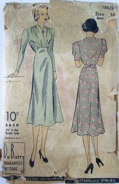 DuBarry 1892B Womens 30s Dress Vintage Sewing