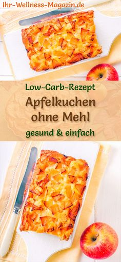Schneller Low-Carb-Apfelkuchen ohne Mehl - Rezept ohne Zucker Apple pie without flour: low-carb recipe without sugar and flour; healthy, low in carbohydrates, reduced calories and delicious . Fast Dessert Recipes, Fast Dinner Recipes, Low Carb Desserts, Low Carb Recipes, Avocado Dessert, Fast Low Carb, Low Carb Keto, Flour Recipes, Sugar Free Recipes