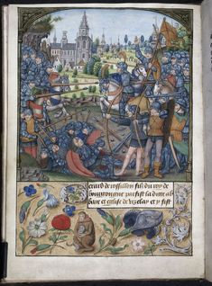 Brugia - koniec XV wieku - Pretty medieval manuscript of the day is a battle! Longbows and lances, and bloodied heads, this is a dramatic and gory scene of medieval warfare. Produced in Bruges towards the end of the fifteenth century, it is another lovely book from the British Library.  Image source: British Library MS Yates Thompson 32. Image declared as public domain on the British Library website.