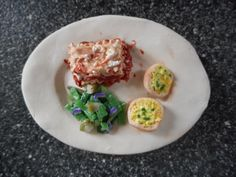 Lasagna Dinner with Salad and Garlic Bread Fake Food Fridge Magnet