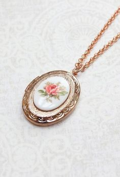 Rose Gold Locket Necklace Oval Locket Pink Rose by apocketofposies