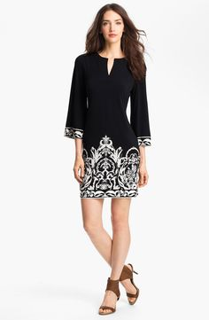 Free shipping and returns on Donna Morgan Print Jersey Shift Dress at Nordstrom.com. An ornate pattern edges the cuffs and skirt of a stark two-toned shift cut from smooth jersey and updated by a crisp notched neckline.