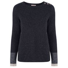 Hand Knitted Cashmere Jumper - Charcoal Stripe - perfect!  #MarilynMoore at www.hunterdunn.co.uk
