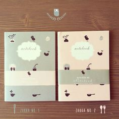 Notebook Zakka no. 1 & 2 105 x 143 mm. 64 pages.  Cover : Drawing paper 190g  Pages : Green read 75g  Binding : Saddle stitch— 在 Hum with Me