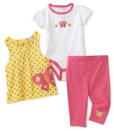 Carters Baby-girls Newborn butterfly Set With Tunic, Creeper and Pant $11.99
