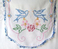 Vintage Blue Birds Embroidered Runner