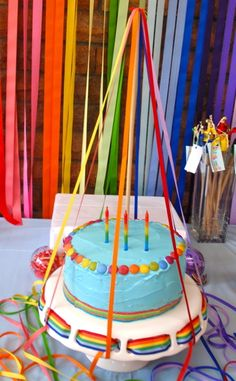 Giggleberry 's Birthday / Rainbow of Ribbons - Photo Gallery at Catch My Party Rainbow Parties, Rainbow Birthday Party, 3rd Birthday, Birthday Parties, Birthday Ideas, Kid Cupcakes, Cupcake Cakes, Ribbon Cake, Rainbow Ribbon