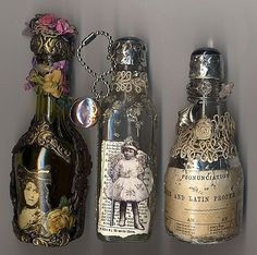 Decorative Bottles :     Left over glass bottles can be recycled by being used as altered art for decor!    -Read More –   - #DecorativeBottles https://decorobject.com/decorative-objects/decorative-bottles/decorative-bottles-left-over-glass-bottles-can-be-recycled-by-being-used-as-altered-art-for-decor/