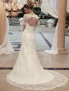 A-line Square Lace Satin Court Train Ivory Appliques Wedding Dresses at Millybridal.com