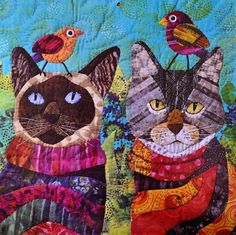 """Cat quilt from Quilting Arts calendar 2012 made by Nancy S. Brown, Oakland, CA - """"Opie and Mittens Go Bird Watching"""""""