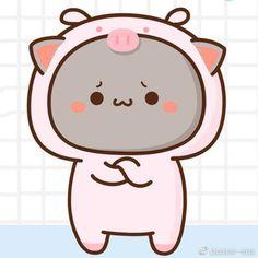 Couple Wallpaper, Animal 2, Cat Stickers, Cute Gif, Cute Illustration, Mochi, Cute Cartoon, Neko, Hello Kitty