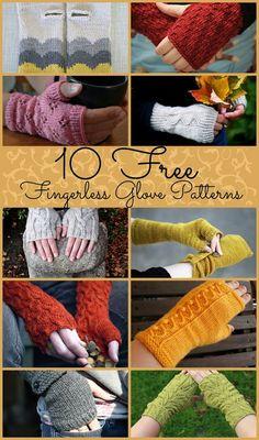 10 free fingerless gloves patterns. free knitting patterns.