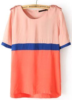 Pink Orange Short Sleeve Epaulet Zipper Chiffon Blouse - Sheinside.com