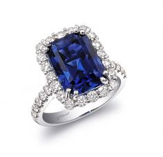 emerald cut blue sapphire engagement rings - Google Search