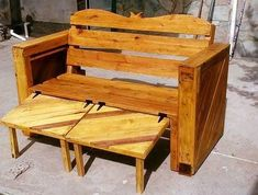 pallet wooden recycling bench .made by muebles para,