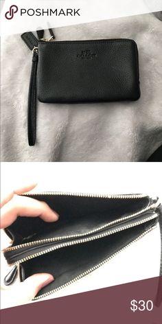Black leather coach wristlet Authentic Coach Bags Clutches & Wristlets