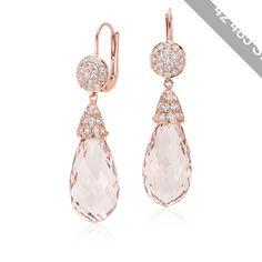 Blue Nile Briolette Morganite and Diamond Drop Earrings
