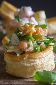 An easy and delicious Appetizer, Vol au Vent filled with a creamy Shrimp filling or a tasty Smoked Salmon filling. Both easy and perfect for Holiday get togethers. Vol Au Vent Once again I would Puff Pastry Appetizers, Savory Pastry, Puff Pastry Recipes, Yummy Appetizers, Appetizer Recipes, Vol Au Vent, Fish Recipes, Seafood Recipes, Cooking Recipes