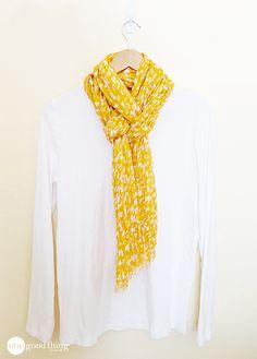 A Simply Pretty Way To Tie A Scarf! - One Good Thing by JilleePinterestFacebookEmailPinterestFacebookPrintFriendlyAddthis