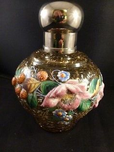 Antique Moser Crackled Art Glass Perfume Bottle Enameled Decoration | eBay