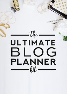 Blog Planner Kit - this is great! It has a variety of sections with decent space to write in, and the design in simple/minimal but cute with the gold accents #blogplanner #blogger
