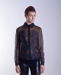 Silk black shirt with stitches