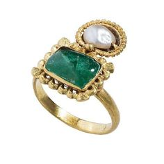 Double Gemstone Ring, ca. 300 AD, Byzantine. Gold, pearl, emerald: The Metropolitan Museum of Art.