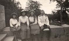 Anastasia, Olga and Maria with an officer in Oreanda, May 1914