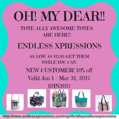 Don't miss out! Endless Xpression has anything you can think of. Stop by and take a look. http://www.endlessxpressions.com/rep/?a_aid=kridleyendlessxpressions