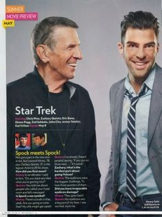Mr. Spock and famous people | ... Leonard Nimoy and Zachary Quinto Talk About Spock to People Magazine