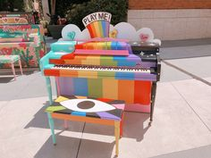 lazy clam 🐰💫 there's a bunch of painted pianos in the museum courtyard! Painted Pianos, Clowning Around, Rainbow Aesthetic, Eye Strain, Gorillaz, My Guy, My Best Friend, I Am Awesome, Childhood
