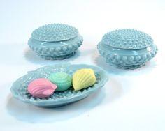 Vintage Blue 1950s Bathroom Ceramic Soap Dish and Two Lidded Powder Jars. #vintage #bathroom #soapdish