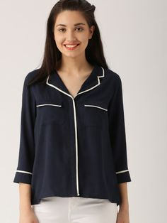 Buy DressBerry Women Navy Blue Regular Fit Solid Casual Shirt - Shirts for Women | Myntra