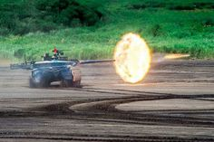 Type 10 mbt fires its 120 mm L44 smoothbore cannon