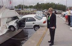 Car crash picture, person smashes into boat. A woman driver drives off a dock in this unusual automobile accident photo and vehicle collision pic. Women Drivers, Bad Drivers, Insurance Humor, Car Insurance, Commercial Insurance, Cheapest Insurance, Insurance Agency, Insurance Marketing, Funny Car Accidents