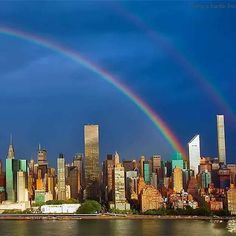 Today a double rainbow graces the NYC Skyline.  Right where the Twin Towers stood!  9.10.2015 ❤ #WTC #twintowers #newyorkcity #Neverforget #doublerainbow #nycskyline